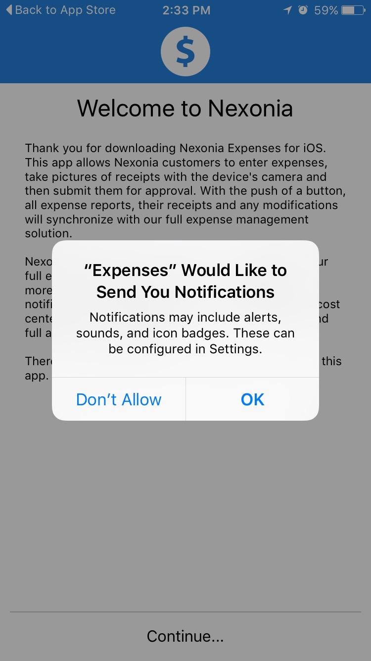 logging in to the expenses mobile app  u2013 nexonia